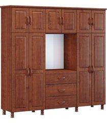 roupeiro capelão bipartido 10 portas 3 gavetas e espelho finestra linha bronze cor imbuia