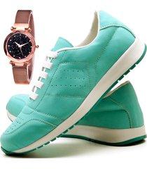 tãªnis sapatãªnis casual fashion com relã³gio gold dubuy 1102-1103el verde - verde - feminino - sintã©tico - dafiti