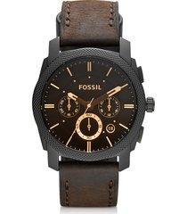 fossil designer men's watches, machine mid-size chronograph brown leather men's watch