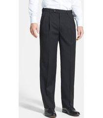 berle self sizer waist pleated classic fit wool gabardine dress pants, size 42 x unhemmed in charcoal at nordstrom