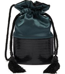 'lola' small panelled lizardskin leather tassel pouch bag