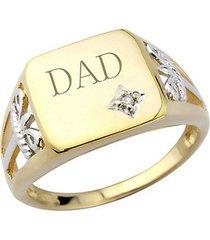 0.1 carat round diamond men's dad ring 14k solid yellow gold