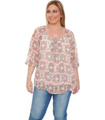 white mark plus size desiree chiffon lined blouse