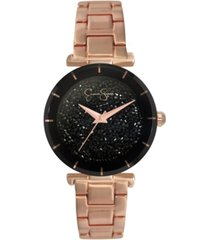 jessica simpson women's crushed crystal rose gold tone bracelet watch 32mm