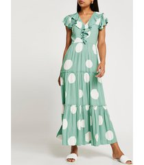 river island womens turquoise short sleeve frill tier midi dress