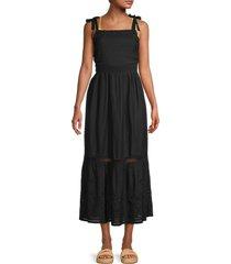 tommy bahama women's eyelet linen-blend dress - black - size xs