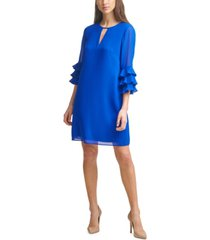 vince camuto ruffle-sleeve chiffon shift dress