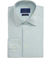 men's big & tall david donahue performance trim fit stretch check dress shirt, size 18.5 - 34/35 - green