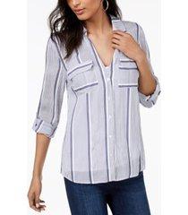 i.n.c. petite striped shirt, created for macy's