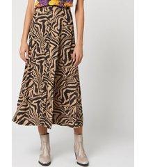 ganni women's printed crepe zebra midi skirt - tannin - eu 38/uk 10