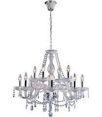 lustre clássico para 12 lâmpadas transparente