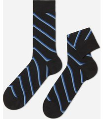 calzedonia classic patterned lisle thread ankle socks man black size tu