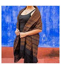 zapotec cotton rebozo shawl, 'dry leaves' (mexico)