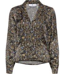adelaide satin print blouse lange mouwen multi/patroon arnie says