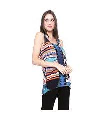 blusa 101 resort wear tunica regata mullet malha flame chifon estampada geometrica