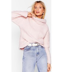 womens true or faux shearling cowl neck sweater - pink