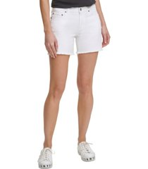 dkny jeans high-rise cut-off denim shorts