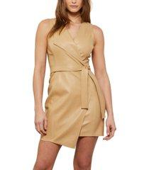 bcbgmaxazria faux-leather belted mini dress