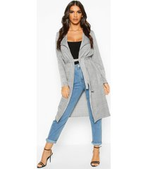 flannel belted duster coat, grey