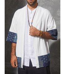 chaqueta de punto con estampado tribal de estilo kimono japonés de verano para hombre