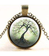 vintage collana di bronzo con vetro cabochon rotondo di albero a vita regalo per lei