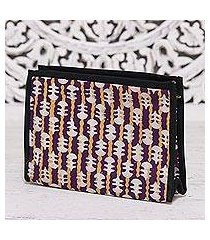 batik cotton clutch, 'lovely designs in eggplant' (india)