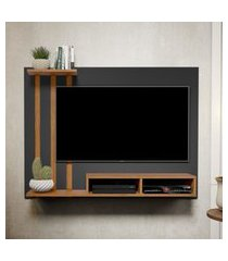 kit painel para tv 48 polegadas dubai preto com nature e aparador retro 1 gaveta e adega intenso preto