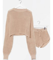 womens knit's end sweater and shorts lounge set - oatmeal
