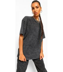 acid wash gebleekt oversized t-shirt, charcoal
