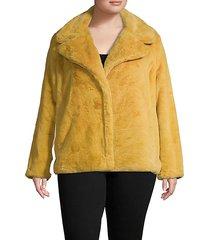 plus notched faux fur jacket