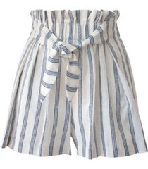 bcbgeneration striped tie-front paperbag-waist woven shorts