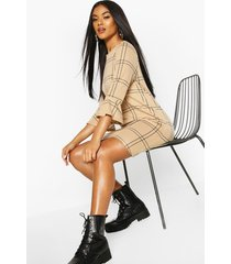 flannel shift dress, stone