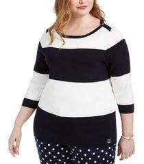tommy hilfiger plus size striped sweater