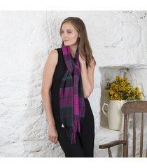 foxford lambswool pink tartan scarf