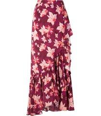 isolda carmen silk crepe skirt - purple