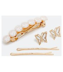 conjunto com brinco de madrepérola e grampos de cabelo   accessories   dourado   u