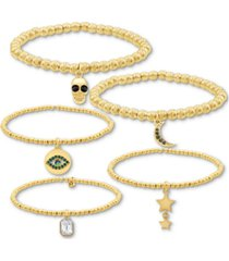 rachel rachel roy gold-tone 5-pc. set charm stretch bracelets