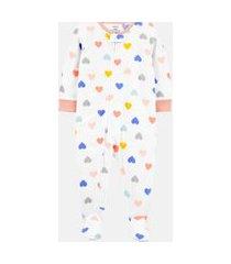 macacão pijama plush carter's coração colorido