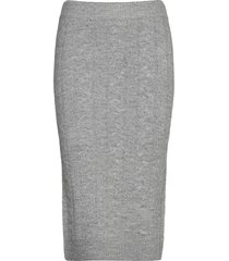 lilian knitted skirt knälång kjol grå gina tricot