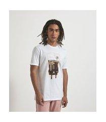 camiseta manga curta com estampa café | blue steel | branco | gg