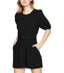 bcbgeneration belted puff-sleeve romper