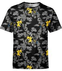 camiseta masculina jardim com pã¡ssaros estampa digital - preto - masculino - poliã©ster - dafiti