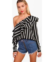 stripe ruffle one shoulder woven blouse, black