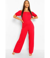 bardot puff sleeve wide leg jumpsuit, red