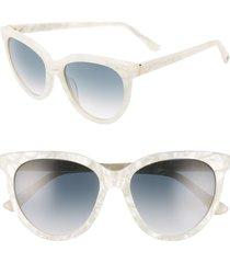 women's brightside beverly 55mm cat eye sunglasses - pearl marble/ grey gradient