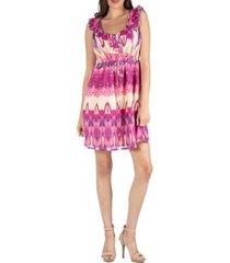 24seven comfort apparel pattern sleeveless dress with ruffle detail