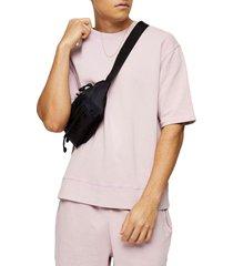 men's topman short sleeve french terry sweatshirt, size small - purple