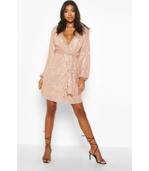 tall blazer jurk met ceintuur met pailletten, roségoud