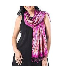 tie-dyed silk scarf, 'lovely magic in fuchsia' (thailand)