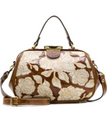 patricia nash natural embroidery gracchi leather satchel